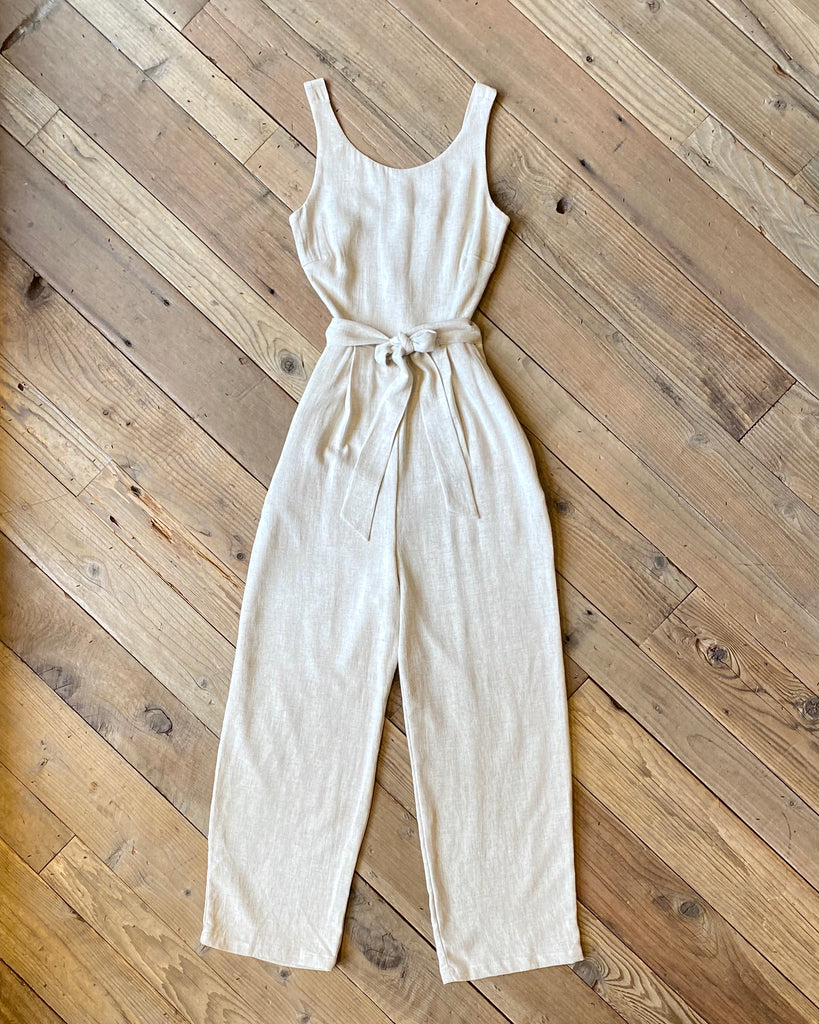 Liberty Jumpsuit in Oat Linen