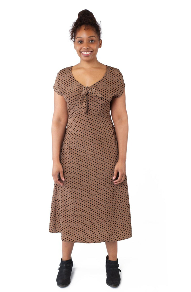 Tatiana Dress in Mocha Dot