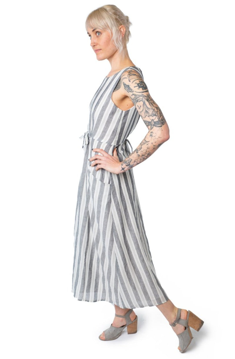 Rhiannon Dress in Stone Stripe