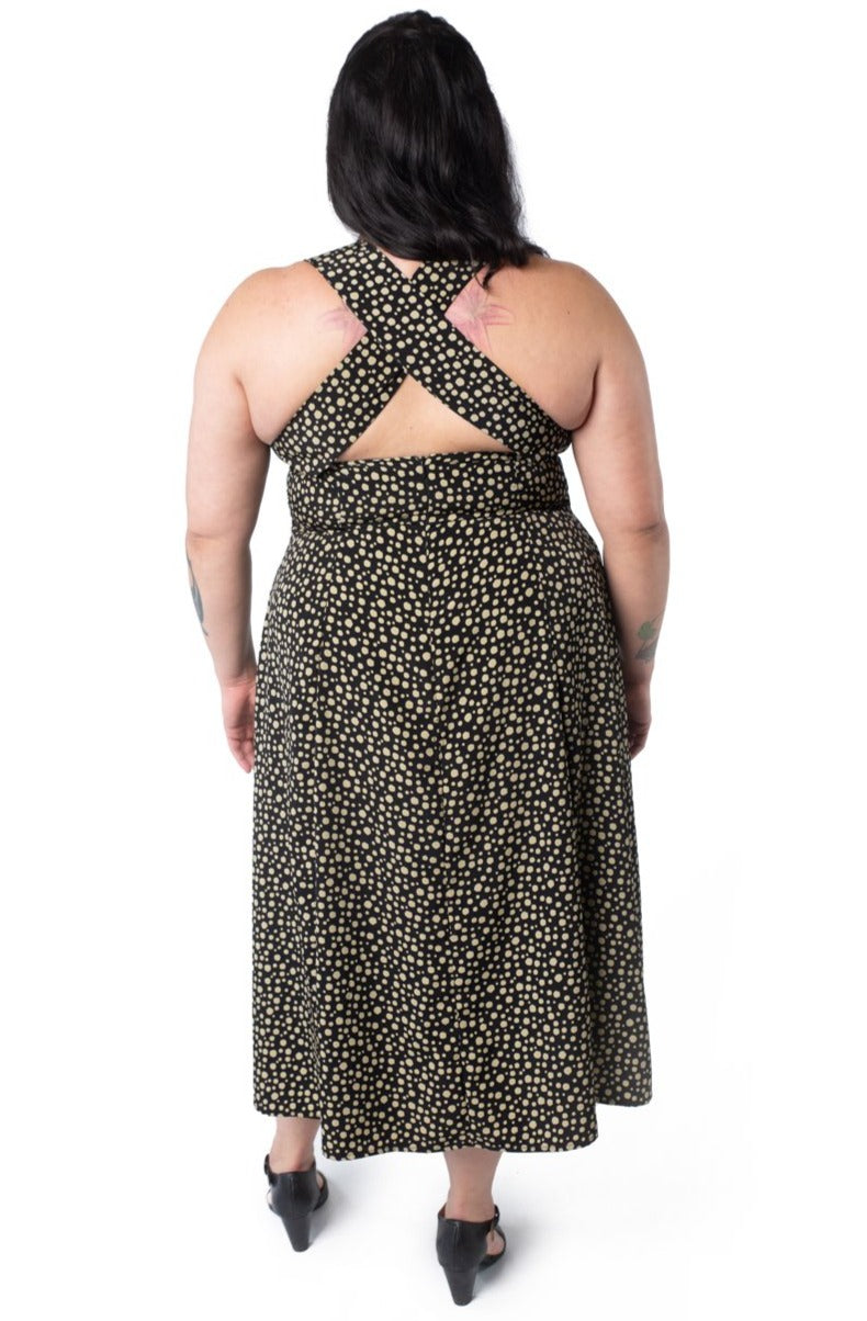 Iris Dress in Black and Creme Dot