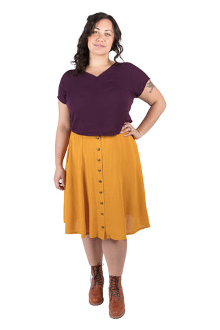 Rue Skirt in Wine Berry Crepe