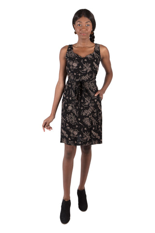 Belted Bias Dress in Black Abstract Floral