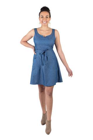 Belted Bias Dress in Lapis