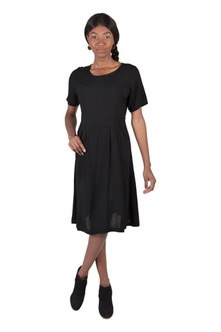 Tia Dress in Black Linen