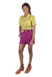 Breezy Shorts in Electric Violet Linen