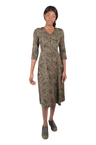 Wrap Dress in Sage Floral Crepe