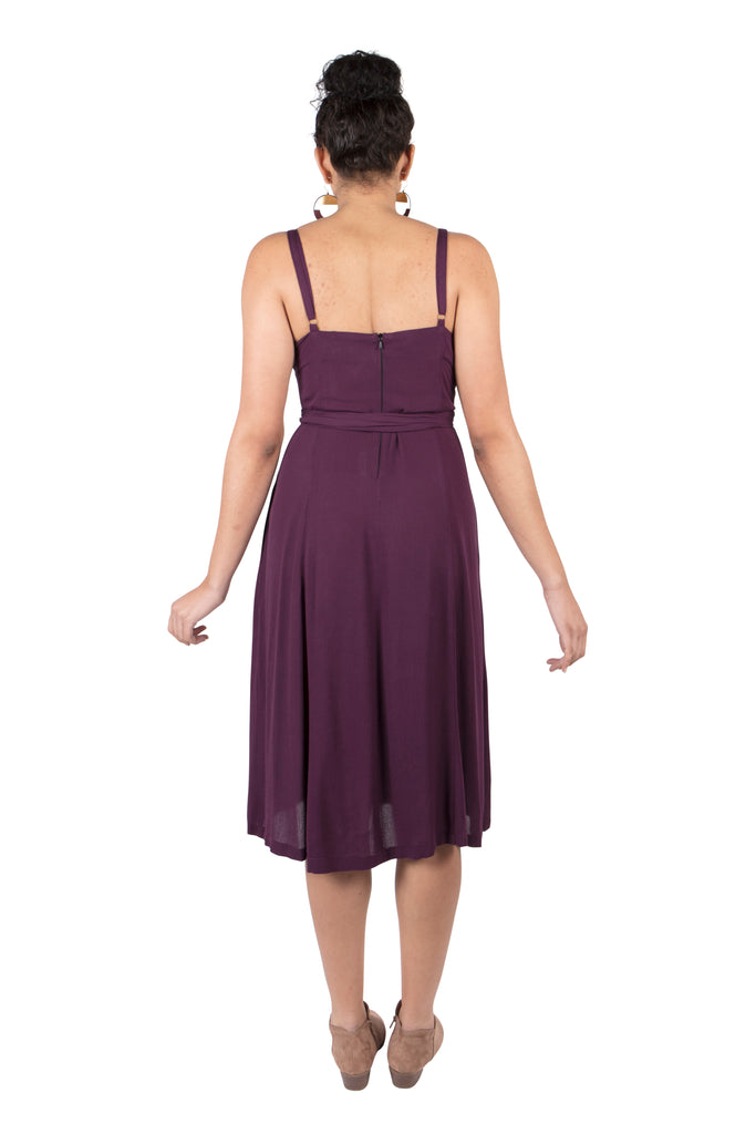 Cross-Over dress in Eggplant Gauze
