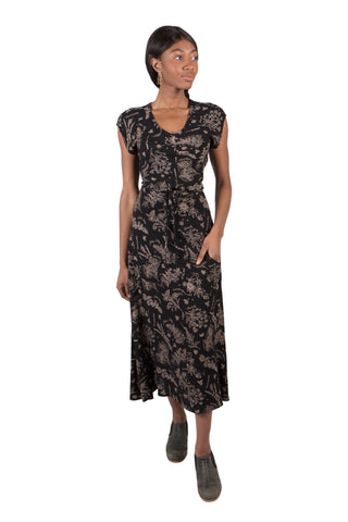 Fiona Dress in Black Jacquard
