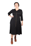 Fiona Dress in Black Challis