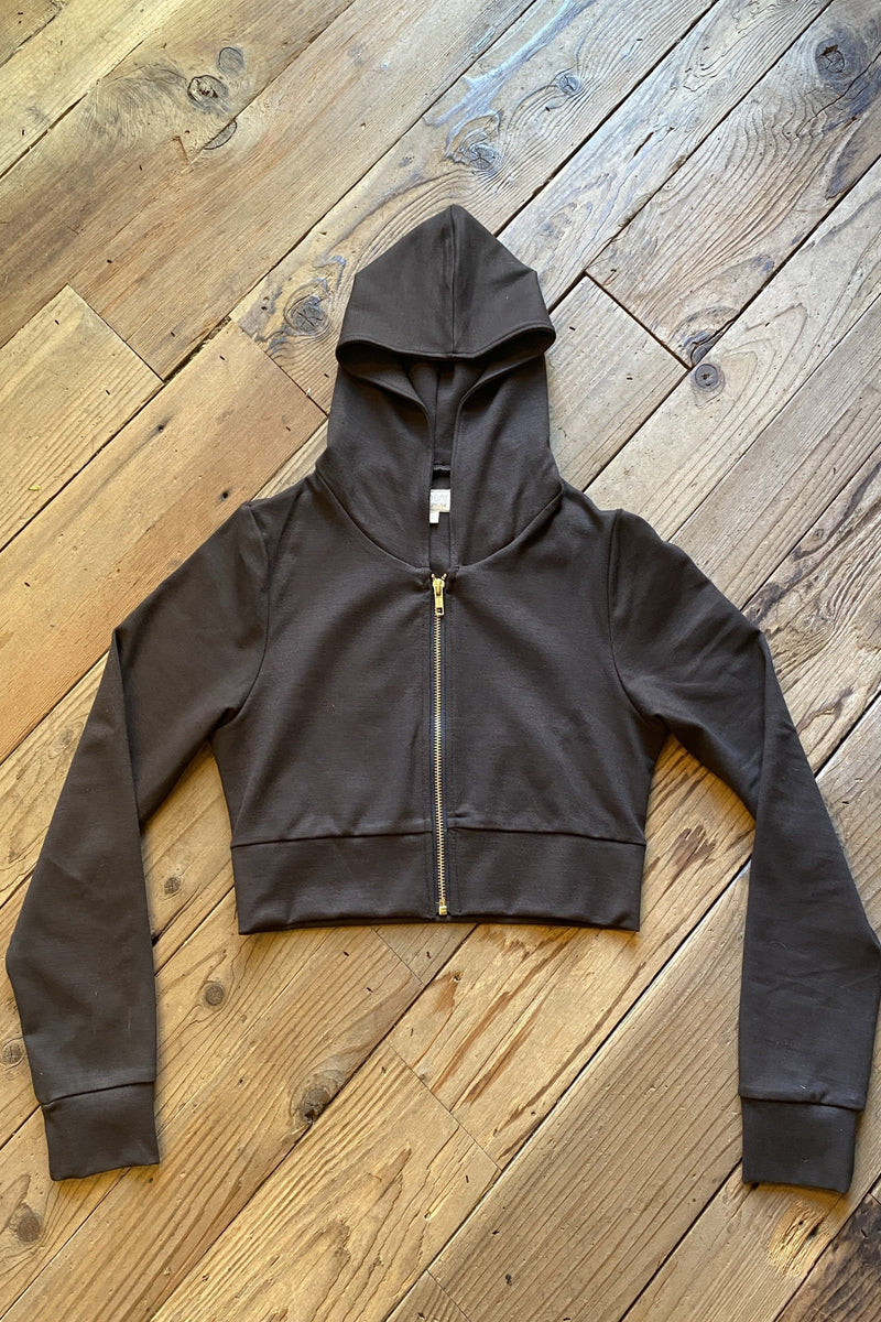Cropped Hoodie In Dark Brown Ponte