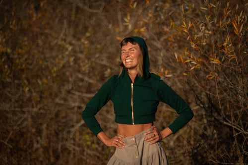 Cropped Hoodie In Emerald Green