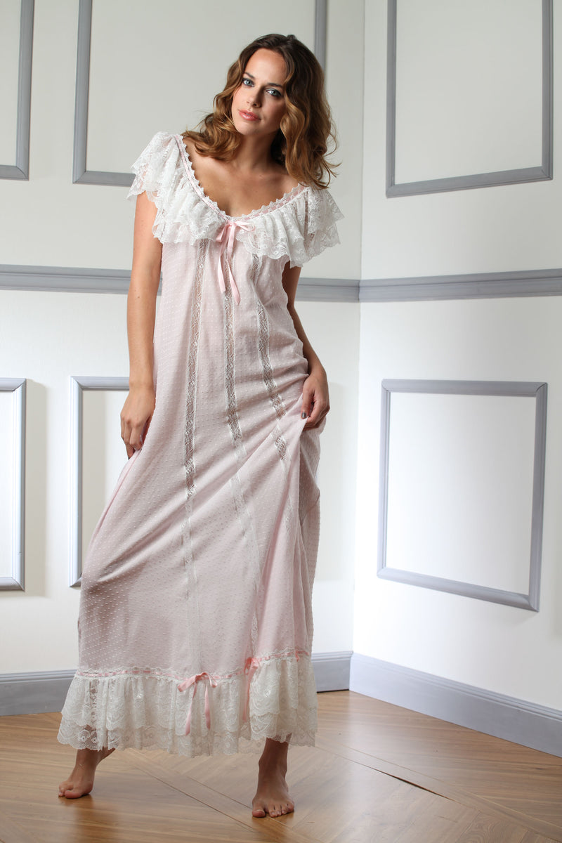 Plumetis Cotton Nightgown - Dress - italian lingerie