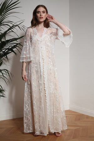 Cotton Lace Robe - Robe - italian lingerie