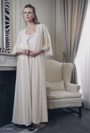 Paris - Cotton Nightgown & Robe - Dress & Robe - italian lingerie
