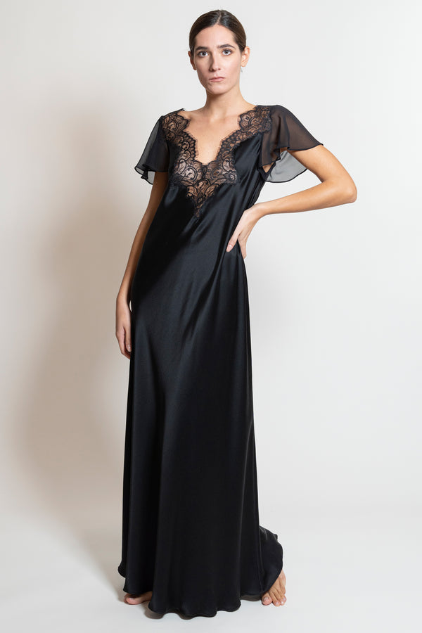 Silk Satin Nightgown - Dress - italian lingerie