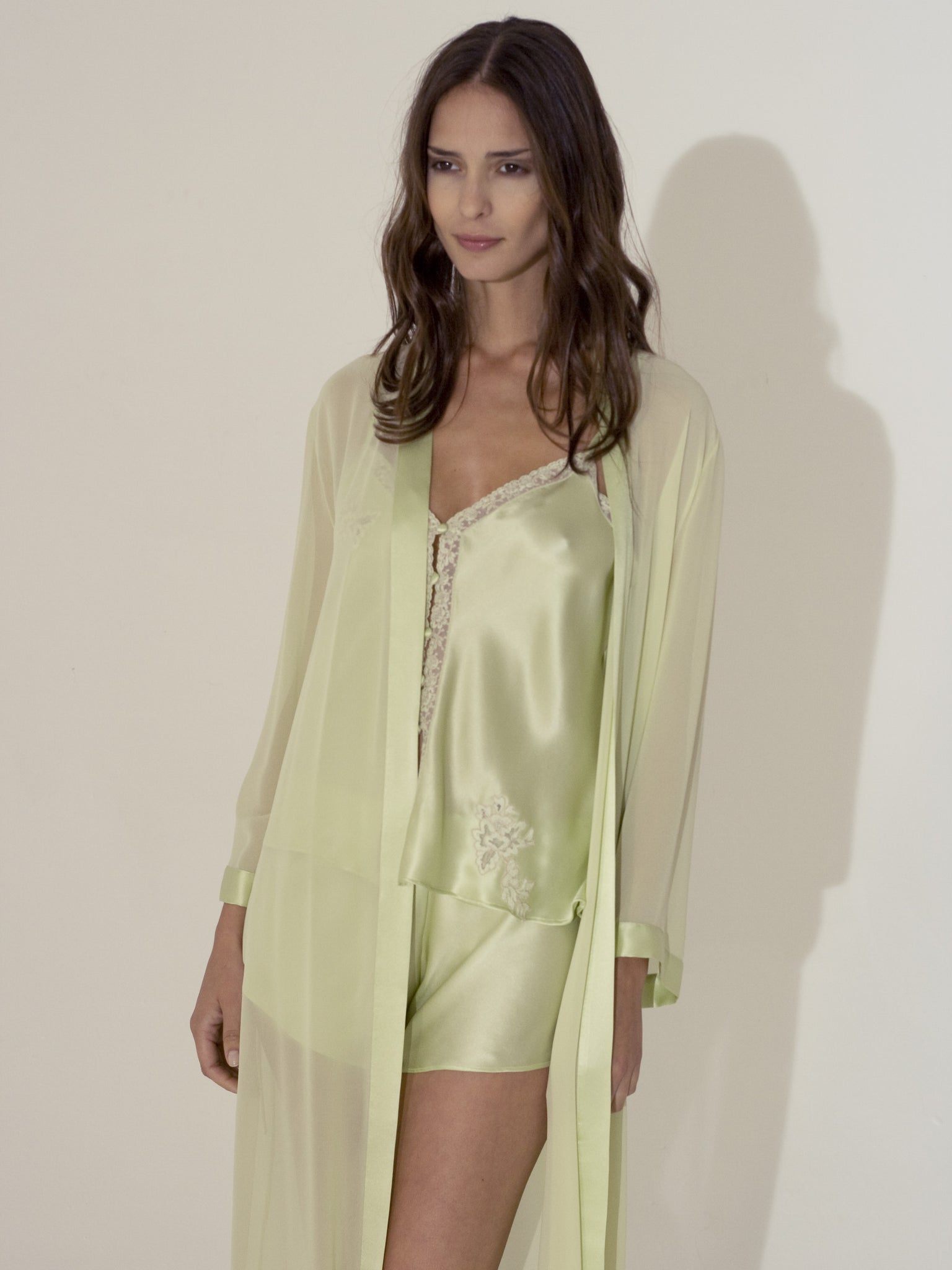 Silk Top & Shorts with Long Robe - Flora Lastraioli Shop Online