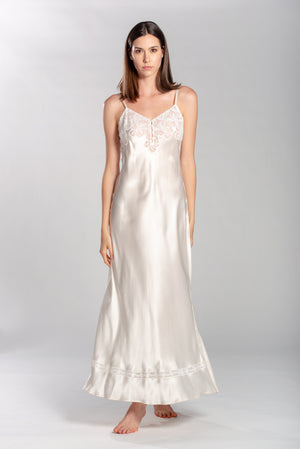 Satin Nightgown with Elegant Hem and Embroidered Lace Detailing. 100% Made in Italy