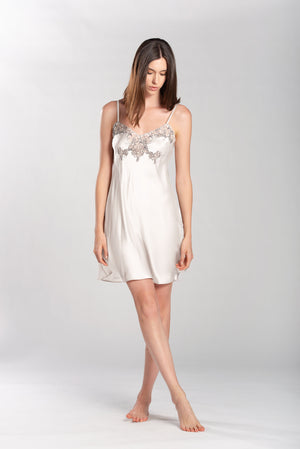A Short Venetian Romance: Bridal Nightgown and Chemise in Pure Silk Satin with Lace Details.