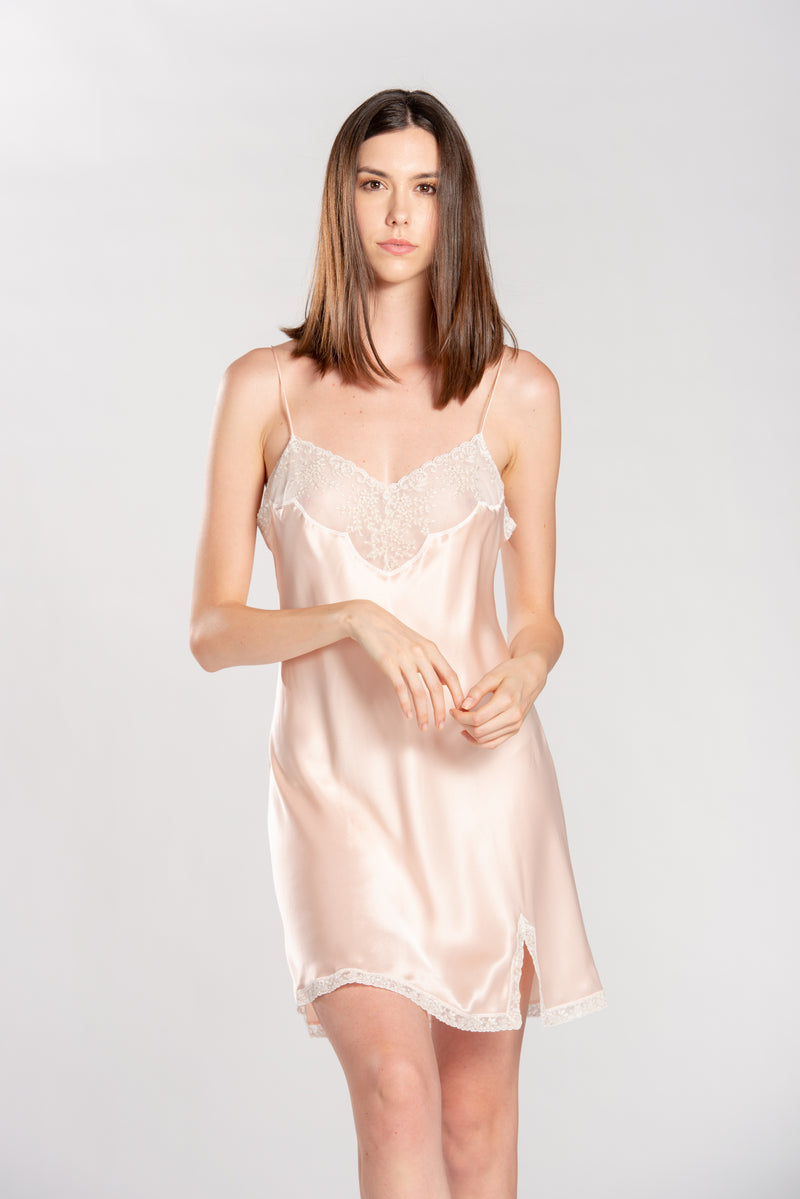 Satin Short Nightgown - Dress - italian lingerie