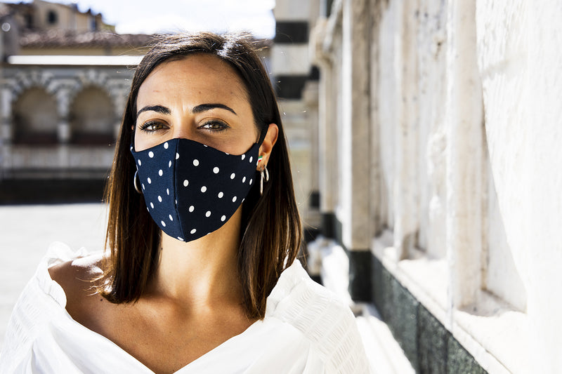 Scorpion White Pois - Removable Filter Cotton Face Mask -  - italian lingerie
