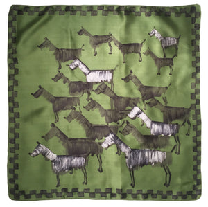 Vintage inspiration foulard - Green Dogs Pattern