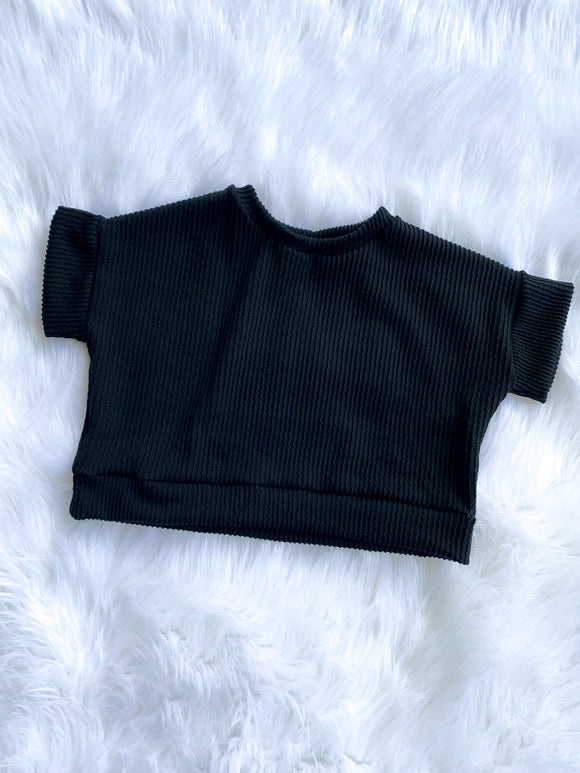Black Ribbed  top SS