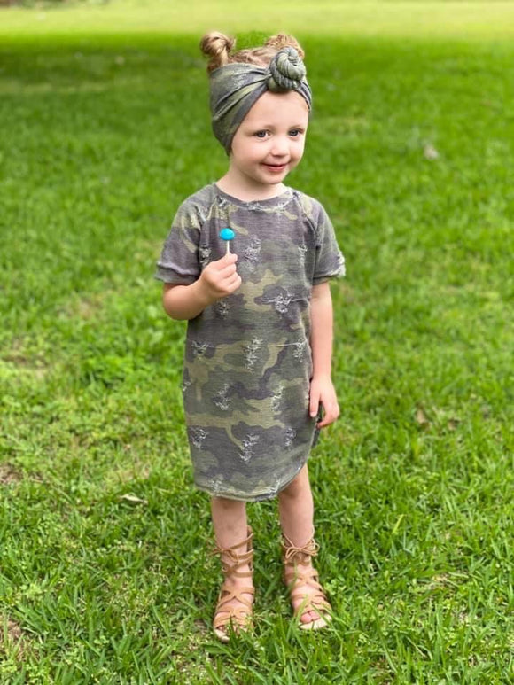 Distressed Camo T-shirt Dress