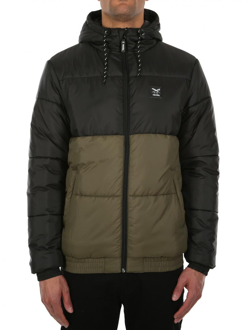 iriedaily stagger hood jacket black/ olive