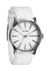 nixon sentry leather horloge silver/white