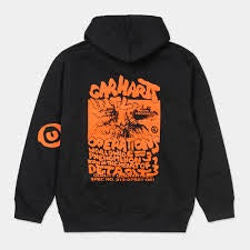 carhartt hooded international operations sweater black orange