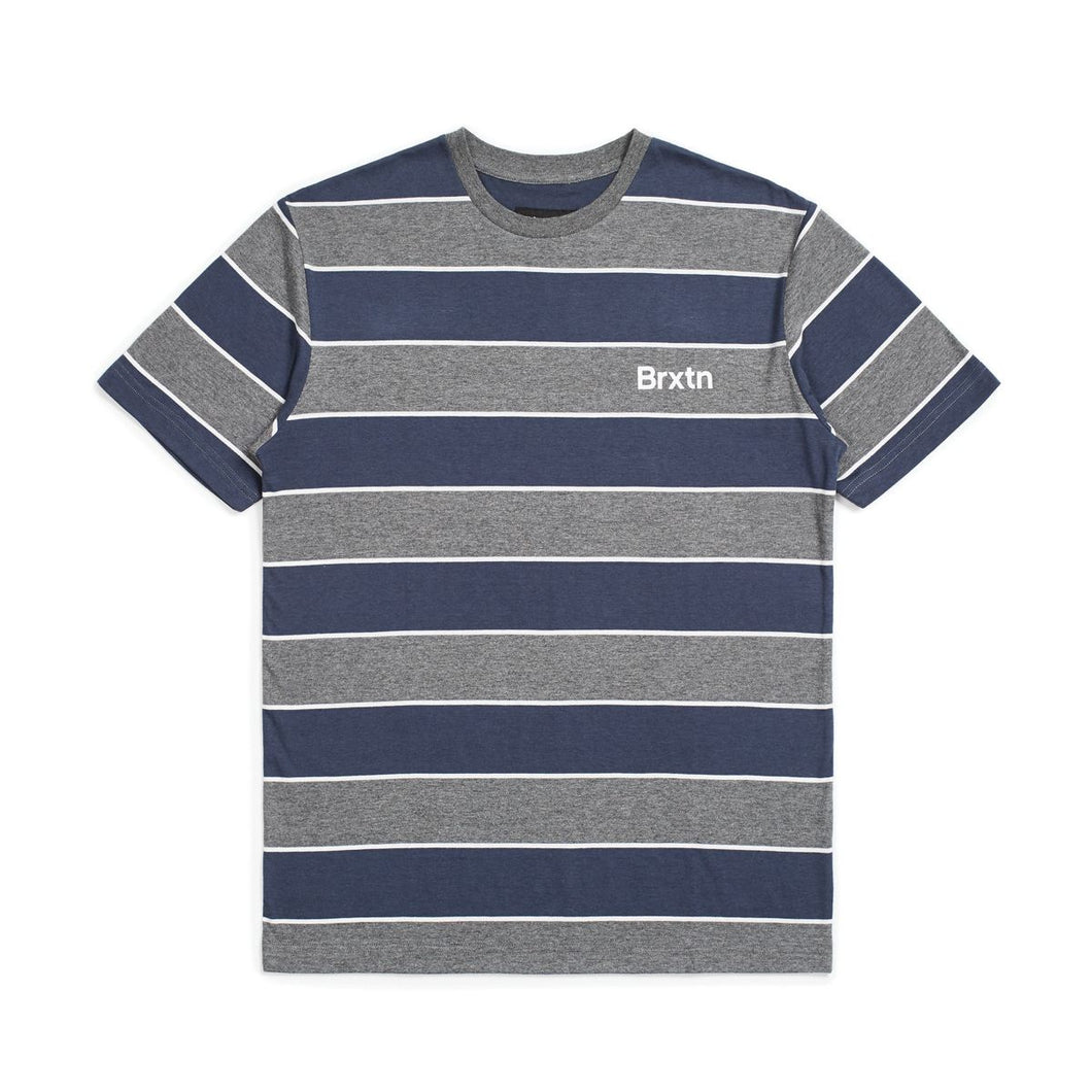 brixton hilt print s/s knit heather grey/washed navy
