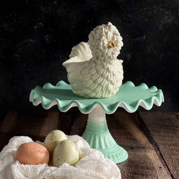 Glitterville Mint Ruffled Cake Plate Pedestal Stands at California Englished