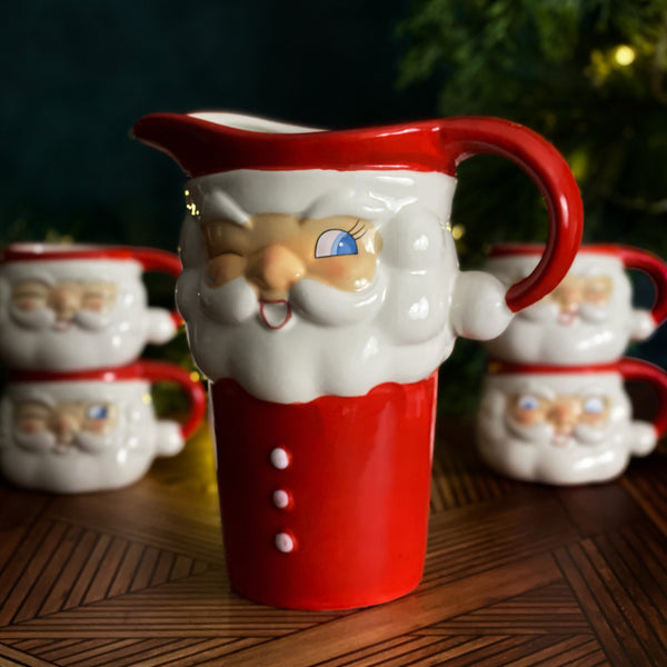 Holt-Howard Nostalgic Santa Cocoa Pitcher and Mug Set Reproduction Tinsel Town