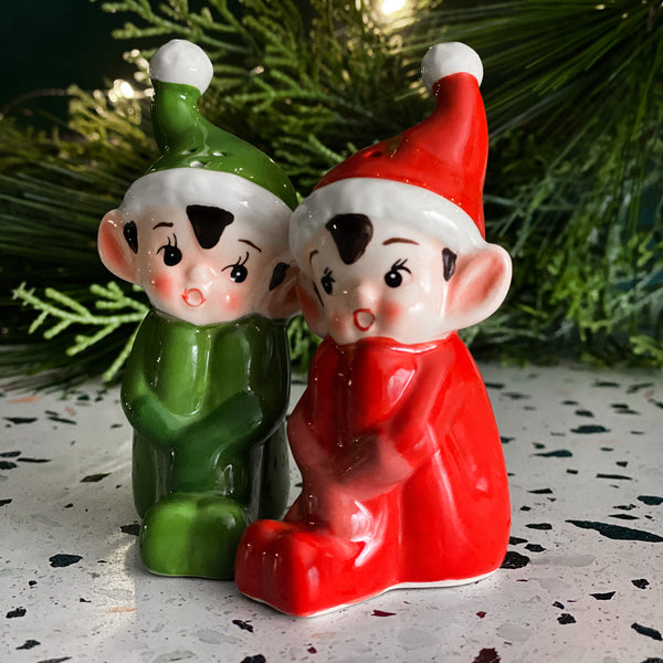 Johanna Parker Folk Artist 180D One Hundred 80 Degrees Gift Boxed Vintage Style Elves Salt /Pepper Shaker Set
