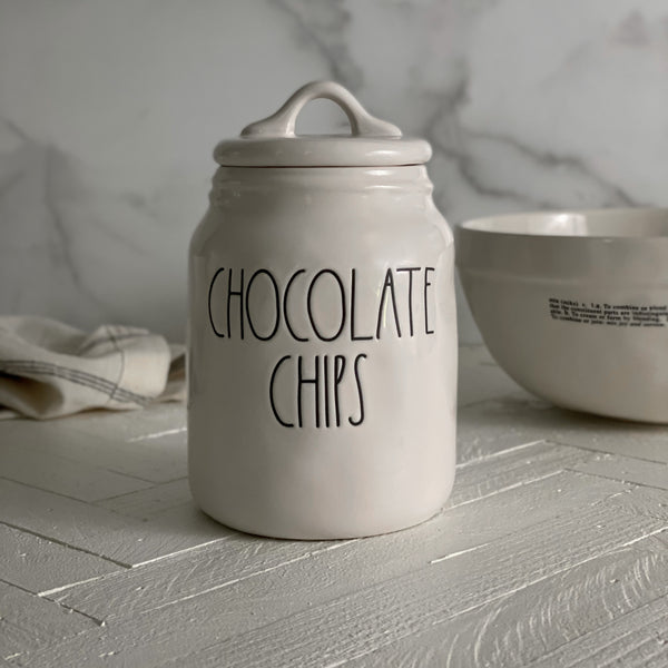 Rae Dunn Baby Chocolate Chips Rae Dunn Online at California Englished Our new release Rae Dunn canisters are available exclusively at California Englished Lifestyle & Home Decor.