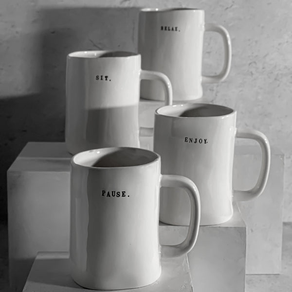 Rae Dunn Classic Boutique Typeset Chair Mug Set ENJOY SIT PAUSE RELAX