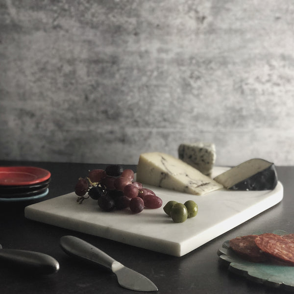 Champney White Marble Cheese Board with Glass Cloche