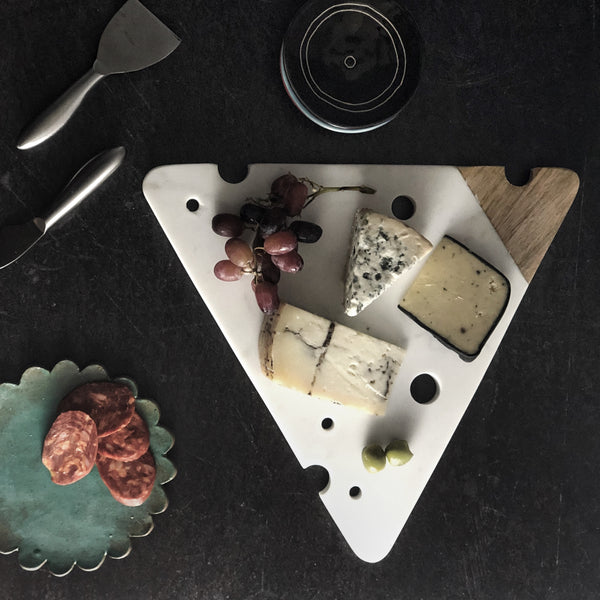 Cheesy Marble and Wood Cheese Board