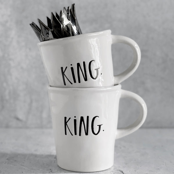 Rae Dunn QUEEN / KING Boutique Ceramic Mugs Gifts for Friends, Modern Ceramic Farmhouse Gay Lesbian Weddings