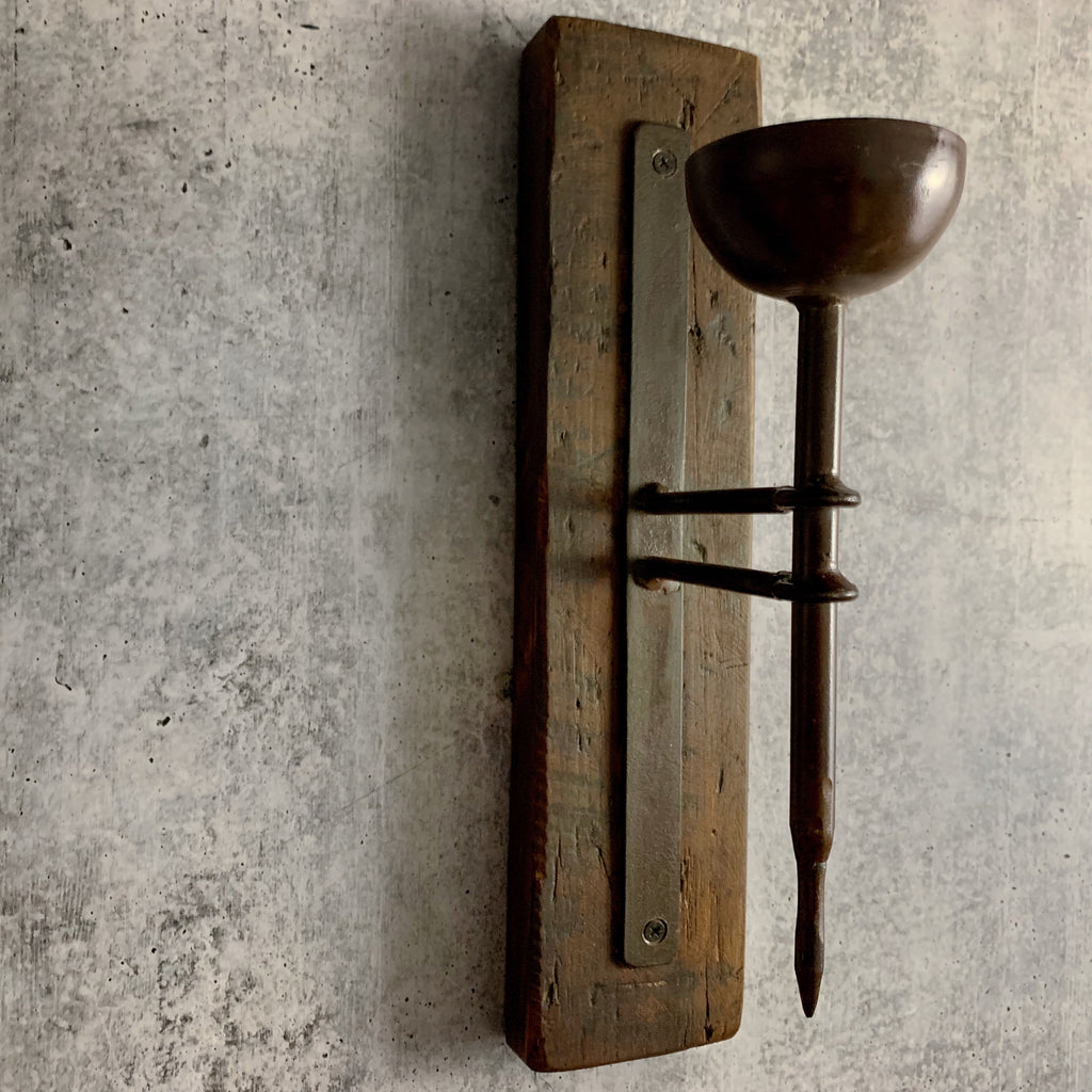 California Englished Recycled Wood And Forged Iron Candle Sconce KALALOU
