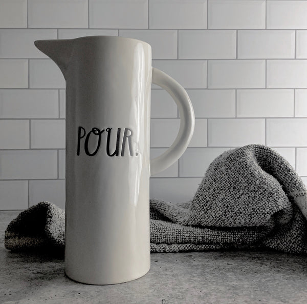 Rae Dunn Boutique POUR Pitcher in stem print is modeled after the original OG Pour design handmade by Rae