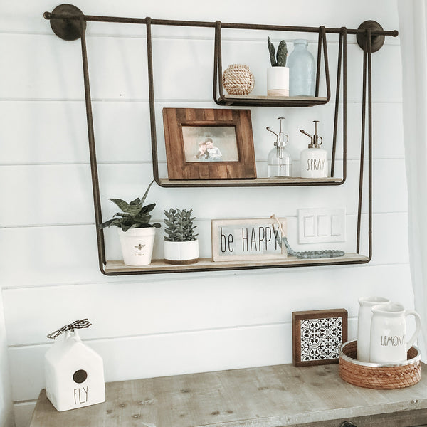 WOOD AND METAL TRIPLE HANGING SHELF kalalou at California Englished