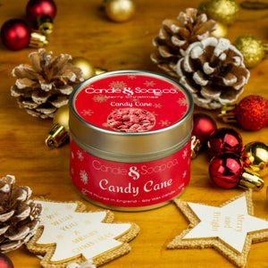 Candy Cane Candle Tin