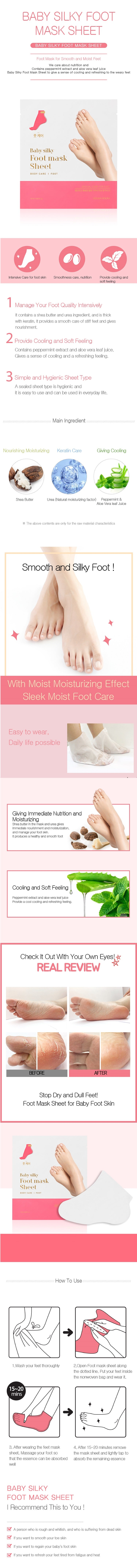 Masker Kaki Korea | Baby Silky Foot Mask Sheet