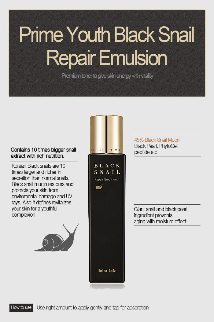 Pelelmbab Wajah | Prime Youth Black Snail Repair Emulsion