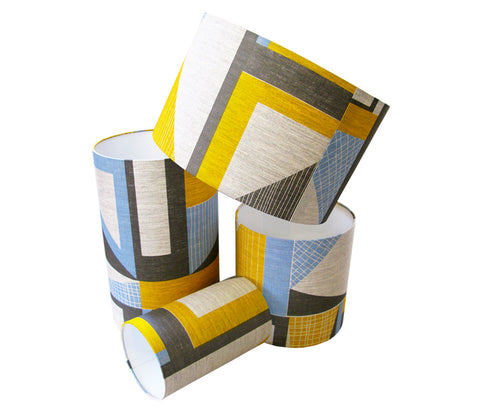 Abstract Square Lampshade: Yellow, Blue, Grey