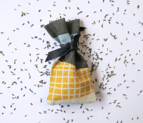Abstract Square Lavender Bag: Yellow, Blue, Grey