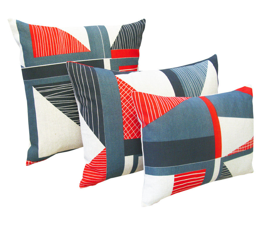 Abstract Square Cushion: Red, Navy, Blue