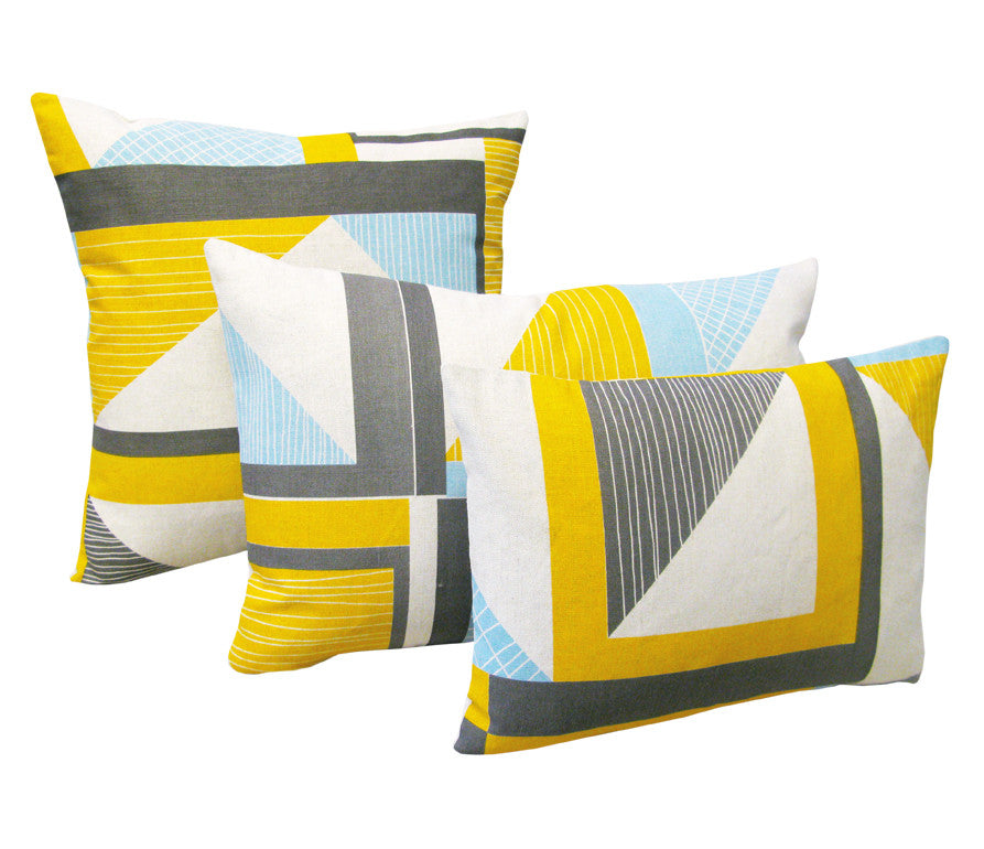 Abstract Square Cushion: Yellow, Blue, Grey