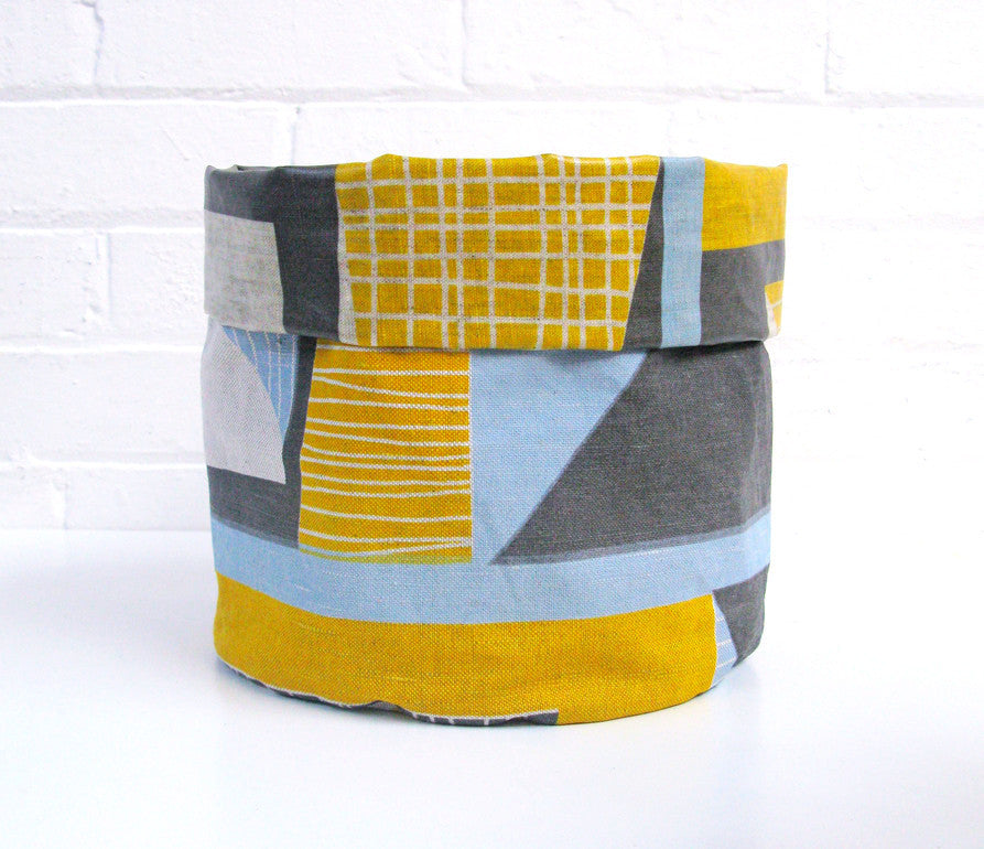 Abstract Square Soft Pots: Yellow Blue Grey